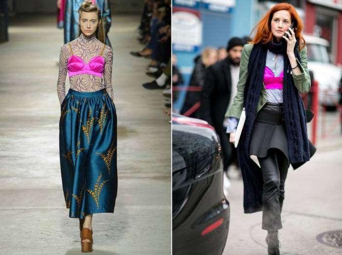 В этом сезоне дизайнеры предлагают представительницам прекрасного пола носить бюстгальтеры не под одеждой, а поверх своих вещей.
