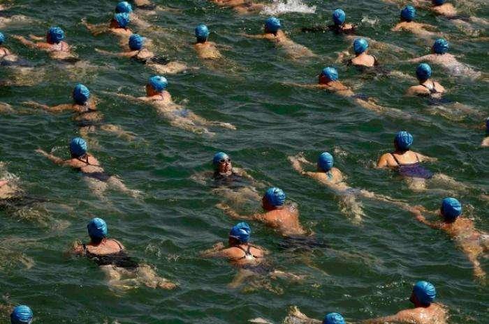 Массовый заплыв голубых шапочек в Цюрихском озере (6 фото)