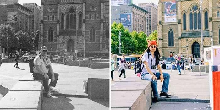 Девушка воссоздала старые фотографии отца, чтобы смириться с его смертью