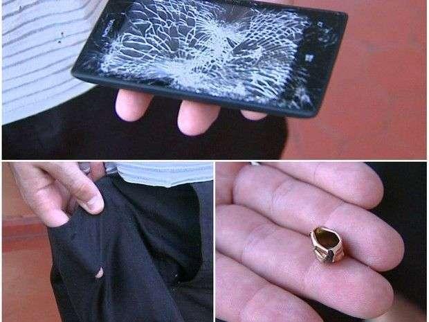 Смартфон спас бразильского полицейского от шальной пули  авария, дтп, животные, история, родился в рубашке