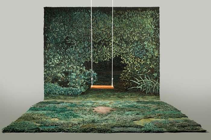 Обычные ковры уже не в моде: художник создает для пола настоящие лесные поляны