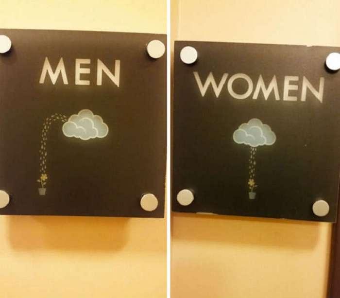 Долой «М» и «Ж»! Самые креативные туалетные знаки.