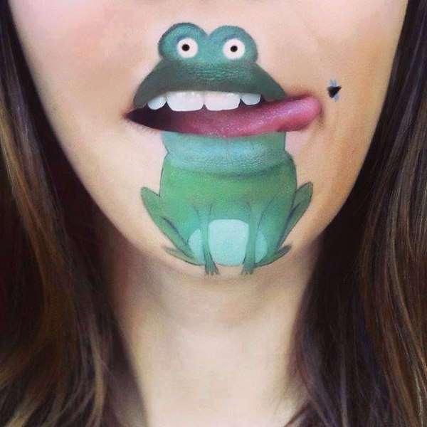 Визажист Лаура Дженкинсон мастерски разукрашивает свои губы, превращая их в лица мультяшных героев