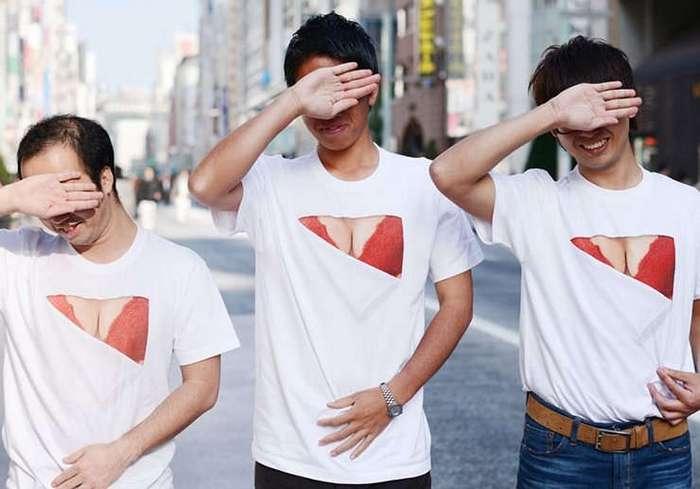 Новая японская мода. Футболки демонстрирующие якобы большую грудь
