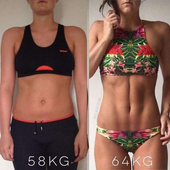 Фитнес-тренер показала, что вес — всего лишь цифра на весах. Сравните сами!