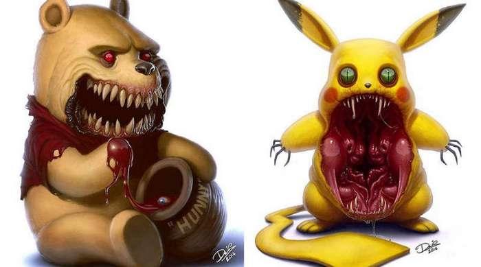 Художник превращает персонажей из мультфильмов в настоящих монстров из преисподней