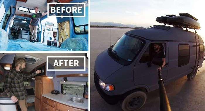Мужчина переоборудовал старенький микроавтобус в мобильный дом и отправился путешествовать по миру