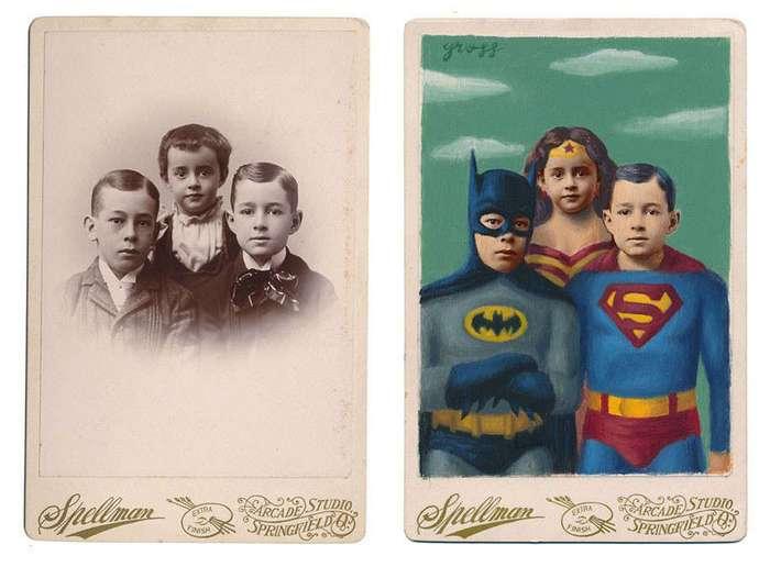 Художник превращает людей с ретрофото в персонажей комиксов и книг