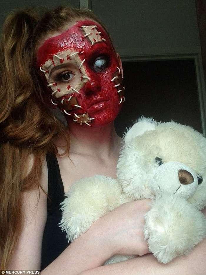 «Гламурная» блондинка превращает себя в монстров из ночных кошмаров при помощи кофе и шнурков