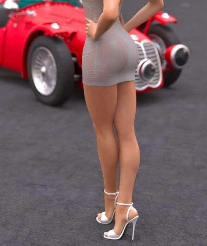 Стройные девушки в коротких платьях