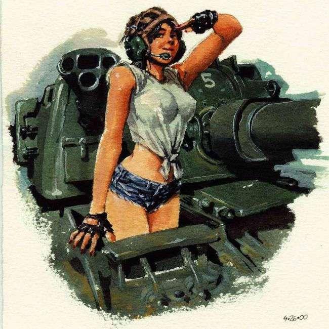 Женщина в форме всегда сексуальна и рисунки не исключение.