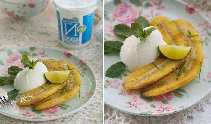Карамелизированные бананы с йогуртом