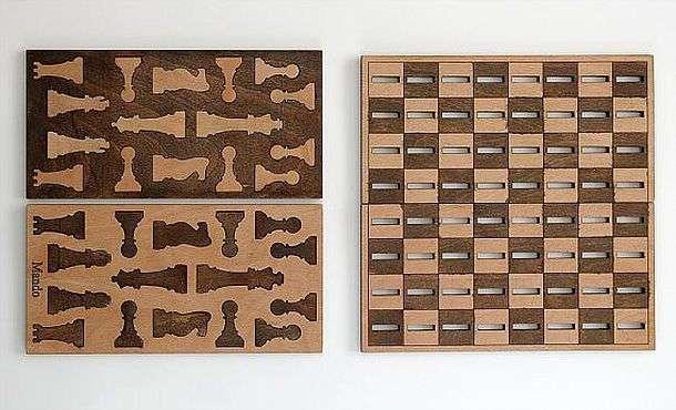 Деревянные 2D шахматы