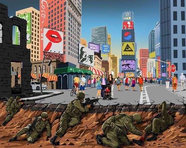 Мир во время войны: мощная серия иллюстраций от азербайджанского художника — Гюндуз Агаев.
