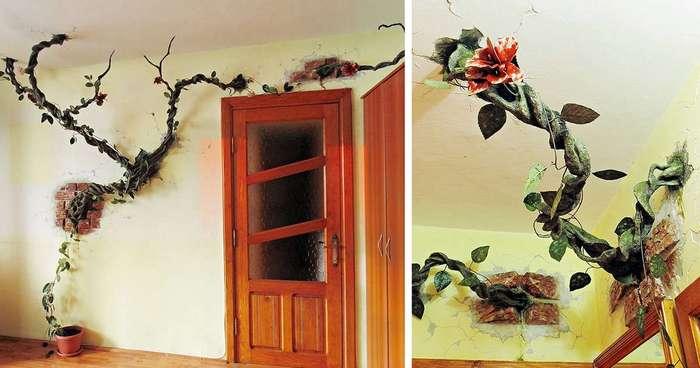 """""""Пророщенные"""" сквозь стены деревья и ожившие картины: декоратор творит чудеса в домах людей"""