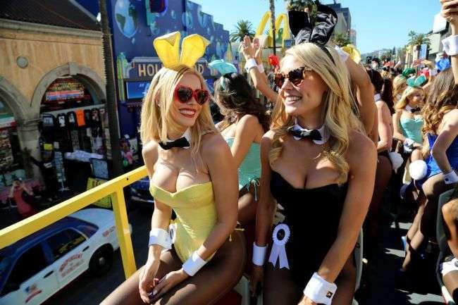 Кролики на параде в честь 60-летия Playboy