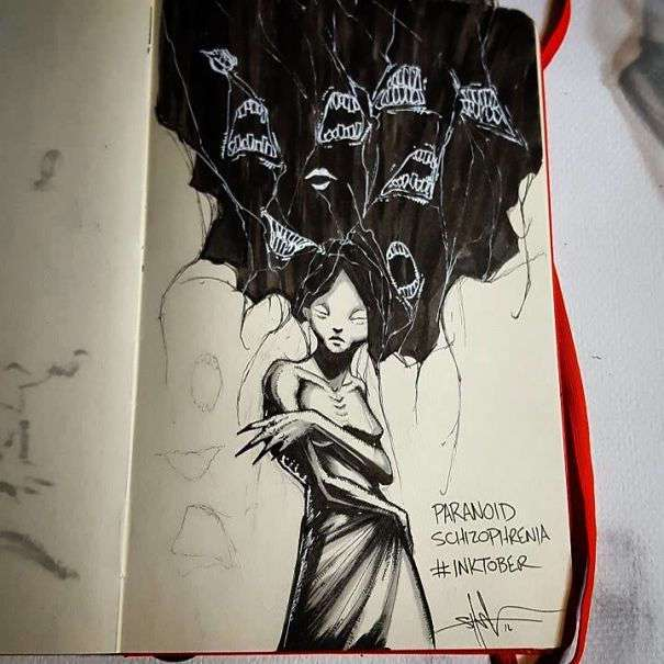 Художник изобразил психические расстройства в серии иллюстраций