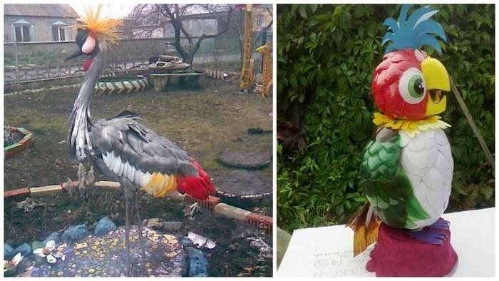 Красивые птицы из пластиковых бутылок своими руками 85