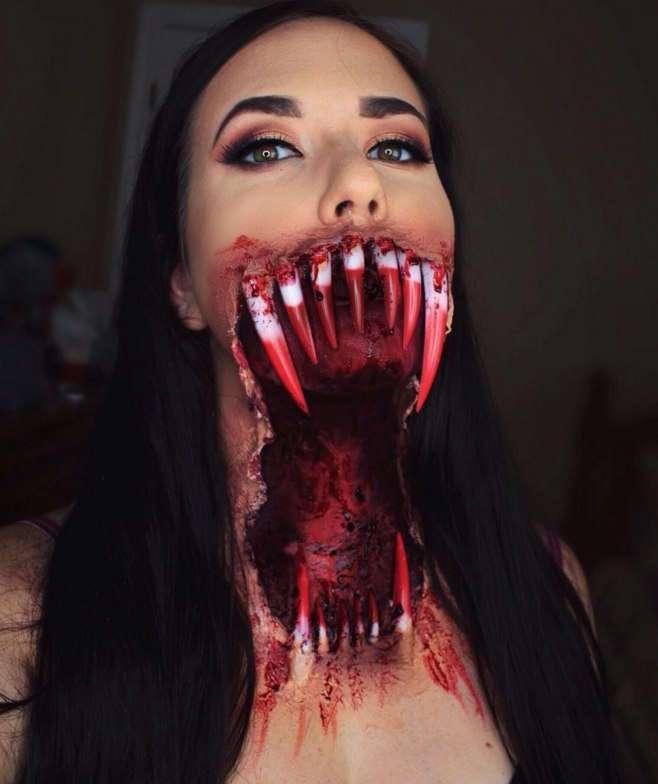 Жуткий грим на Хеллоуин (10 фото)