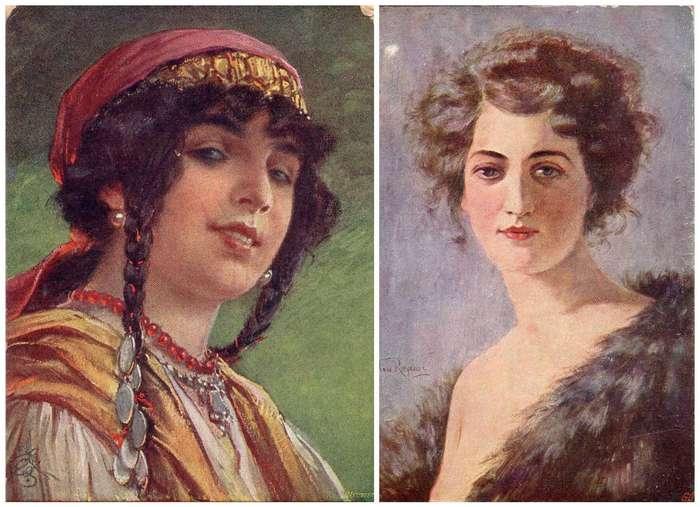 Женщины на старинных открытках