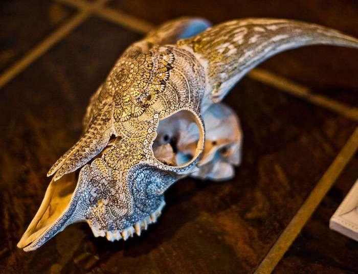 Художница расписывает черепа животных золотыми мандалами