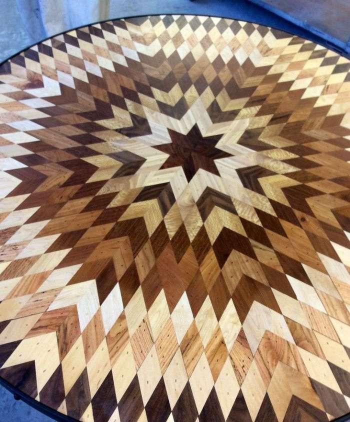 Великолепные мозаичные столешницы из старых досок