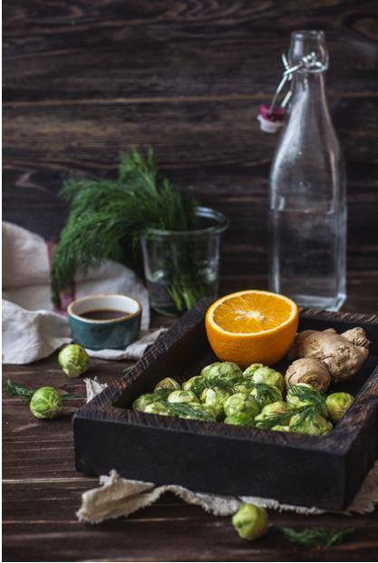 Брюссельская капуста в имбирно-апельсиновом соусе