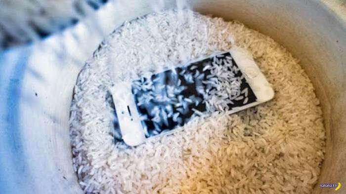 Рис не очень эффективен для телефонов-утопленников