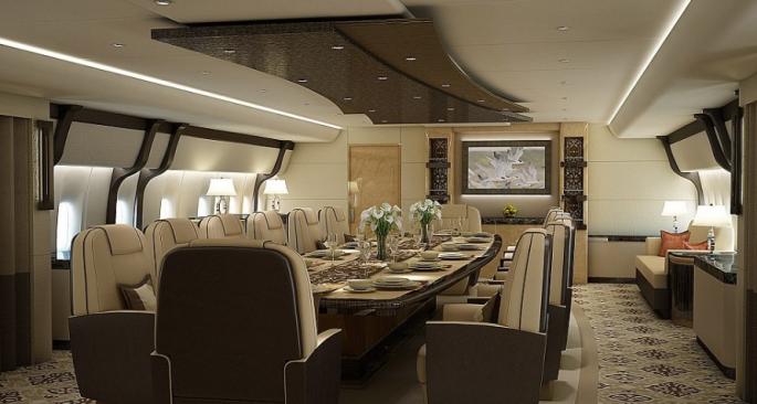 Внутри роскошного частного самолета