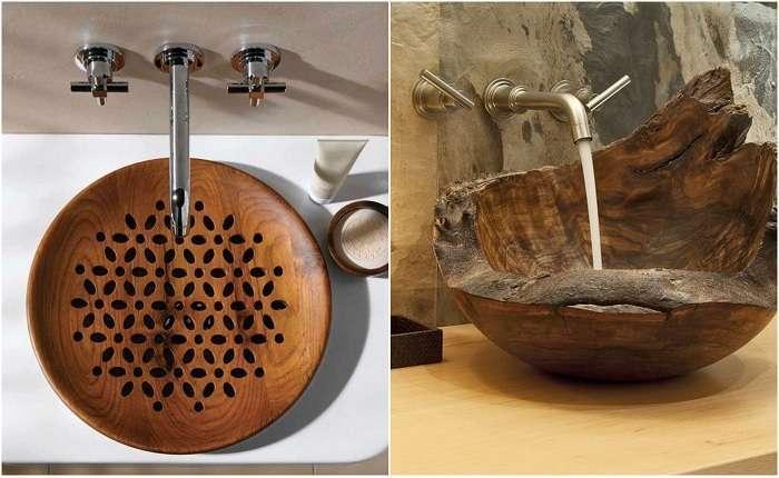 Деревянные раковины, которые создадут невероятный интерьер в ванной