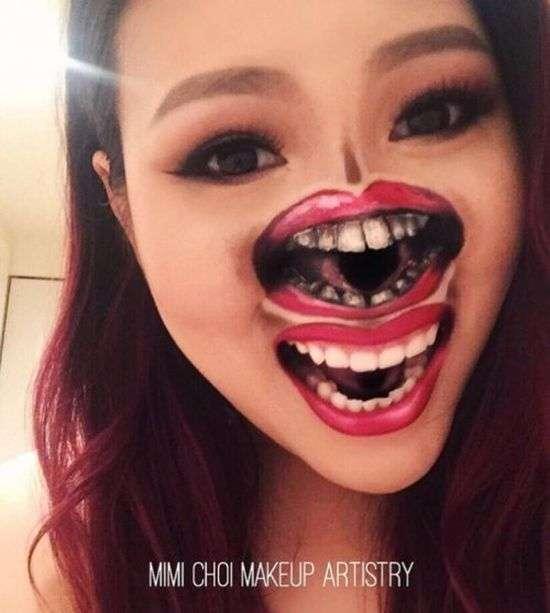 Зрелищные иллюзии на лице девушки-визажиста (22 фото)