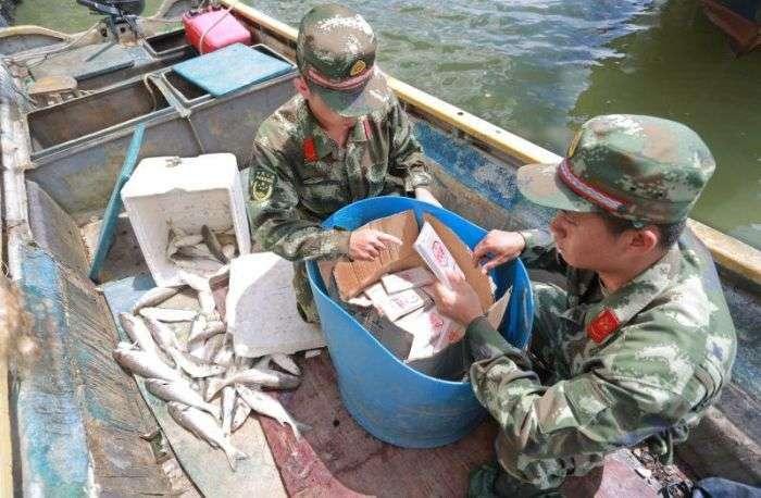 В Китае таможенники обнаружили у рыбаков весьма необычный улов (4 фото)
