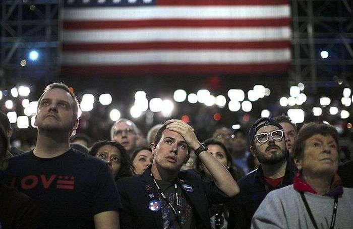 Реакция сторонников Хиллари Клинтон на итоги выборов в США