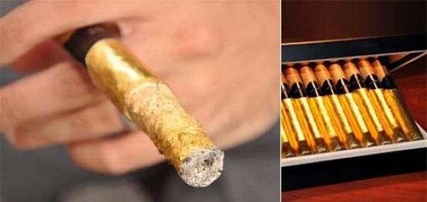 Только настоящий богач позволит себе курить золотые сигары (6 фото)