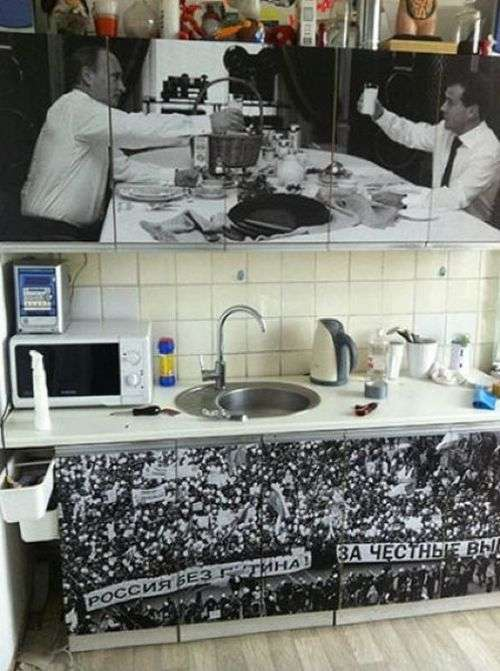 Креативный способ рестайллинга старого кухонного гарнитура (4 фото)