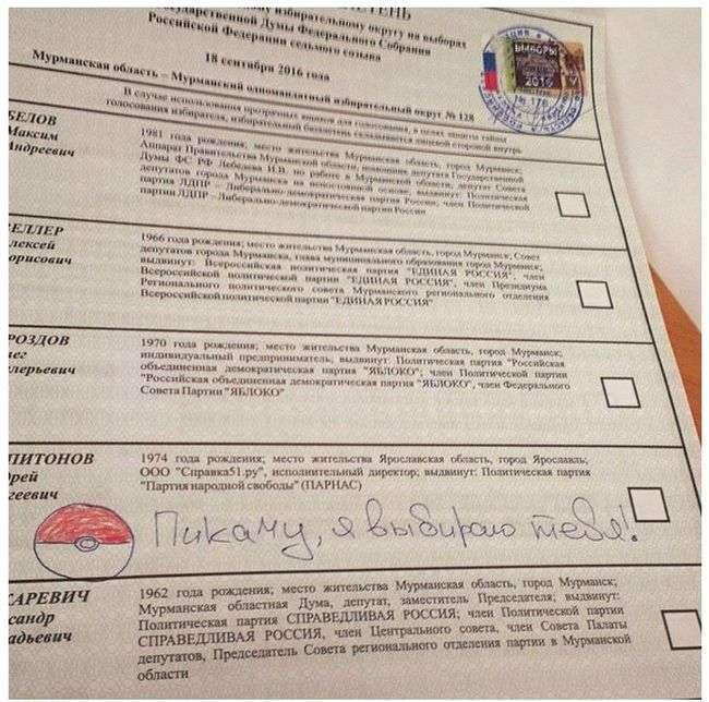 Испорченные бюллетени с парламентских выборов (10 фото)