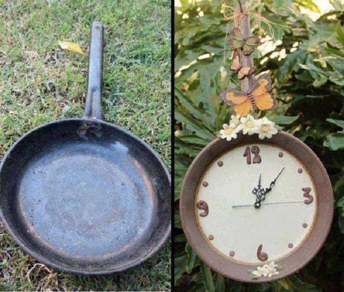 Гениальные примеры украшения сада с помощью простых кухонных предметов: 27 примеров
