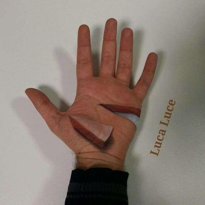 Галлюциногенные 3D-иллюзии на ладонях, которые взорвут ваш мозг (15 фото)