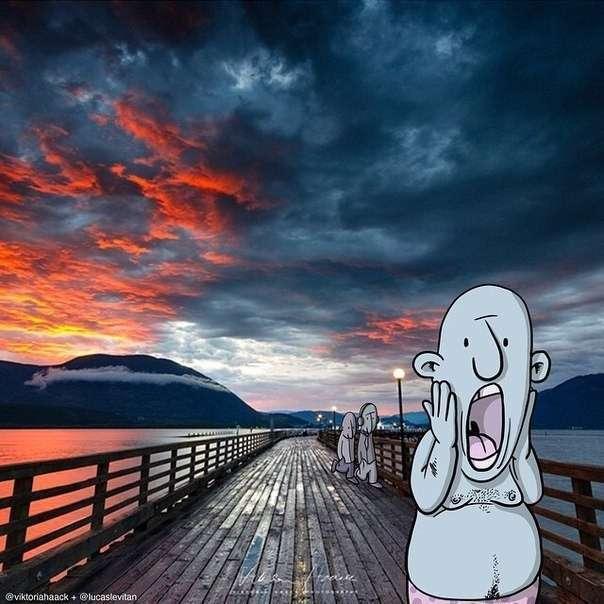 Смешные рисунки к случайным фотографиям (10 фото)
