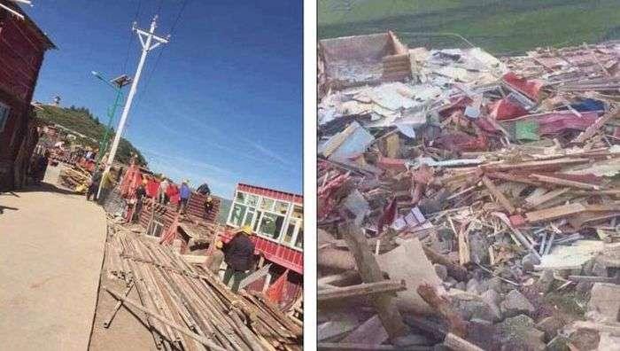 Власти Китая начали сносить строения в городе тибетских монахов (8 фото)