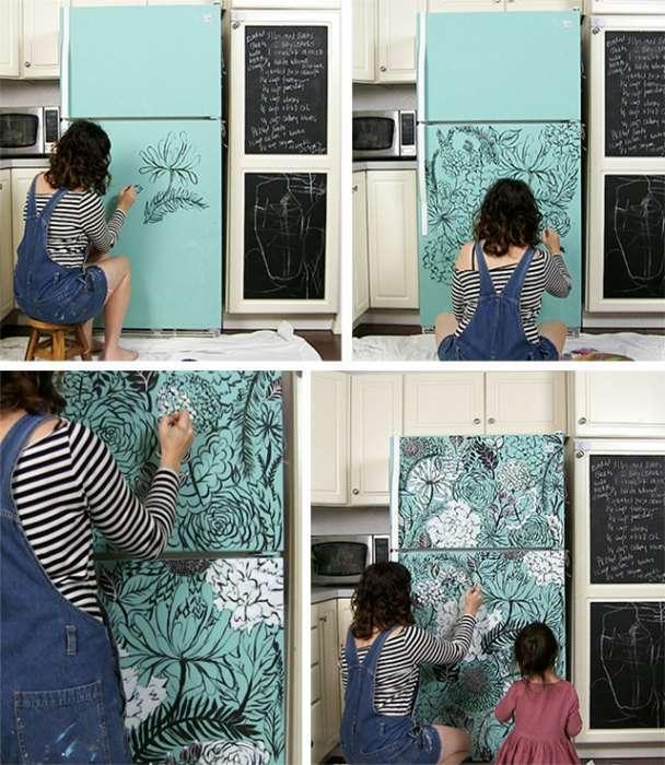 Жажда перемен: 16 замечательных идей, которые помогут преобразить старый холодильник