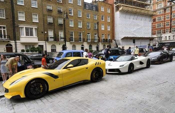 Роскошный автопарк сына катарского шейха на улице Лондона (14 фото)