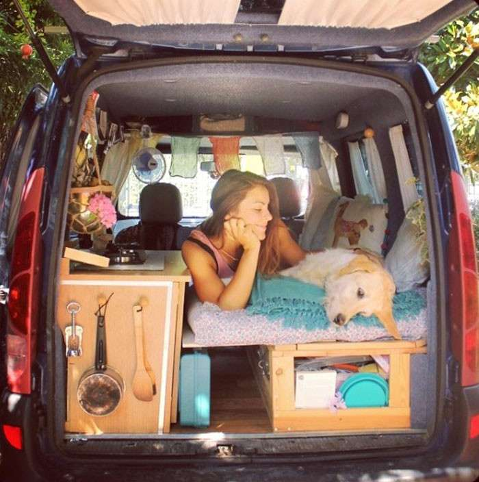 Девушка переделала фургон и колесит по миру — в компании со своим классным лабродором