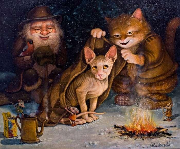 «Картины от печки»: приключение кота Кузьмы в сказочных работах Александра Маскаева