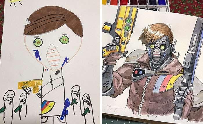 Художник Томас Ромейн перерисовывает рисунки своего сына и это выглядит потрясающе.