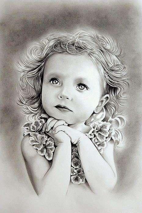 Изумительные детские портреты, нарисованы простым карандашом