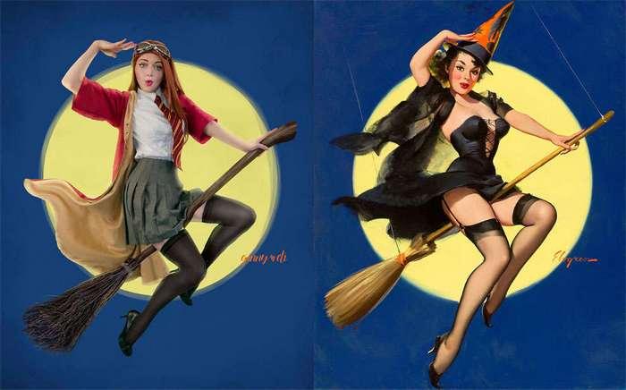 Героини серии книг о Гарри Поттере в образах пин-ап моделей