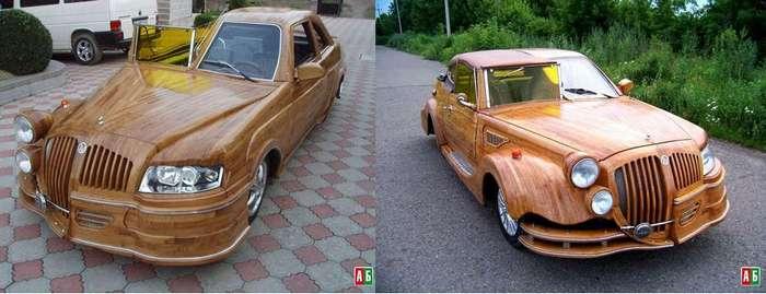 Украинец продаёт самодельный деревянный автомобиль