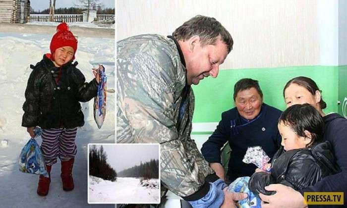 Восемь километров через зимнюю тайгу прошла 4-летняя девочка из Тувы (4 фото)