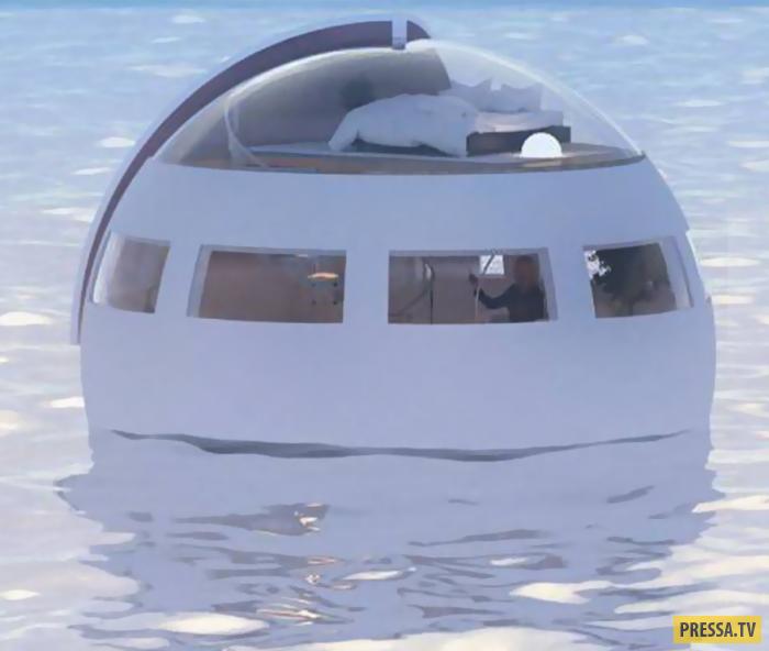 Отель-капсула на воде для любителей необычного отдыха (2 фото)